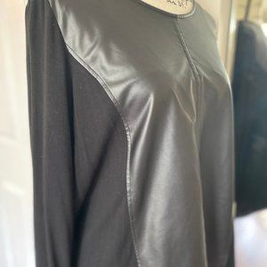 Chico's faux black leather & knit top shirt size 2